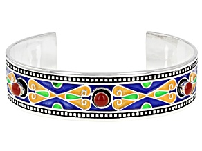 Pre-Owned Resin And Multi-Color Enamel Sterling Silver Cuff Bracelet