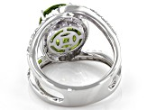Pre-Owned Green Peridot Rhodium Over Silver Ring 4.07ctw