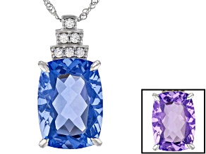 Pre-Owned Blue Color Change Fluorite Rhodium Over Sterling Silver Pendant With Chain 17.35ctw