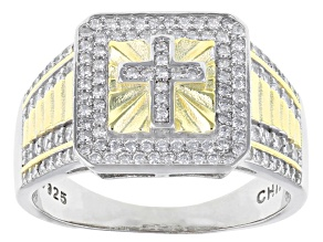 Pre-Owned White Cubic Zirconia Rhodium and 14K Yellow Gold Over Sterling Silver Mens Cross Ring 1.53