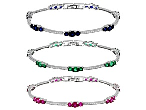 Pre-Owned Green Nanocrystal/Cubic Zirconia/Lab BlUe Spinel/Lab Ruby Rhodium Over Sterling Bracelets