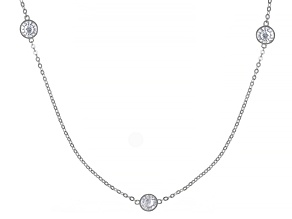 Pre-Owned White Cubic Zirconia Rhodium Over Sterling Silver Necklace 9.57ctw
