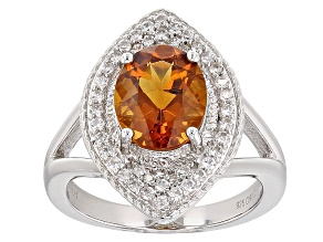 Pre-Owned Orange Brazilian Madeira Citrine Sterling Silver Ring 2.10ctw