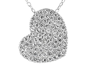 Pre-Owned White Cubic Zirconia Rhodium Over Sterling Silver Heart Pendant With Chain 1.02ctw