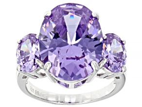 Pre-Owned Lavender Cubic Zirconia Rhodium Over Sterling Silver 20.90ctw