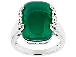 Pre-Owned Green onyx rhodium over sterling silver solitaire ring
