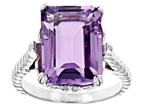 Pre-Owned Emerald  Cut Amethyst Rhodium Over Sterling Silver Ring 6.8ctw