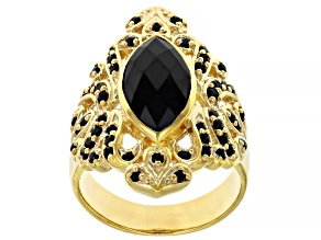 Pre-Owned Black spinel 18k yellow gold over sterling silver ring 2.93ctw