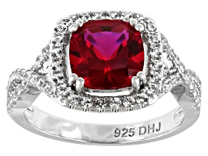 Pre-Owned Red Lab Created Ruby Rhodium Over Sterling Silver Ring 2.94ctw