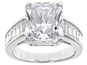 Pre-Owned Scintillant Cut White Cubic Zirconia Rhodium Over Sterling Silver Ring 11.34ctw
