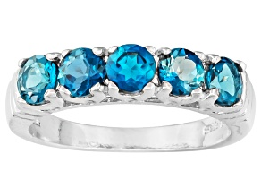 Pre-Owned London Blue Topaz Rhodium Over Sterling Silver 5-Stone Ring 1.50ctw