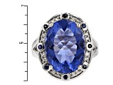 Pre-Owned Blue Color Change Fluroite Rhodium Over Sterling Silver Ring. 11.26ctw