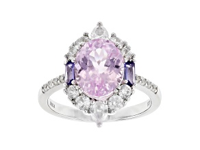 Pre-Owned Pink kunzite rhodium over sterling silver ring 4.18ctw