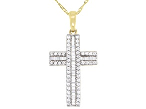 Pre-Owned White Cubic Zirconia 10k Yellow Gold Cross Pendant With Chain 0.85ctw