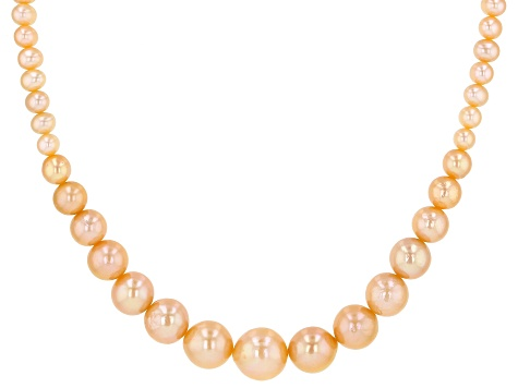 Pre-Owned Genusis™ Peach Cultured Freshwater Pearl Rhodium Over Sterling Silver 18 Inch Necklace