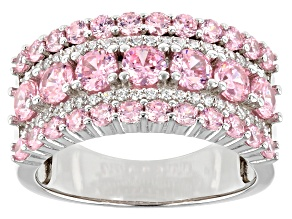 Pre-Owned Pink And White Cubic Zirconia Rhodium Over Sterling Silver Ring 4.35ctw