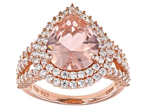 Pre-Owned Pink Morganite Simulant and White Cubic Zirconia 18K Rose Gold Over Sterling Silver Ring 8