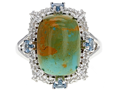 Pre-Owned Blue Tyrone turquoise sterling silver ring .92ctw