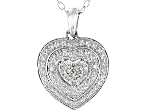 Pre-Owned White Diamond Accent Rhodium Over Sterling Silver Heart Pendant With Cable Chain