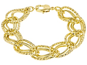 Pre-Owned Moda Al Massimo ® 18k Yellow Gold Over Bronze Oval Link Bracelet