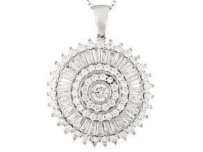 Pre-Owned White Cubic Zirconia Rhodium Over Sterling Silver Pendant With Chain 8.00ctw