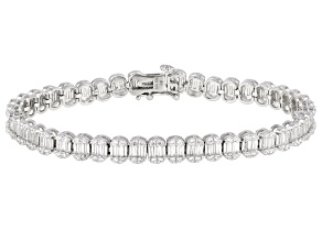 Pre-Owned White Cubic Zirconia Rhodium Over Sterling Silver Tennis Bracelet 4.88ctw