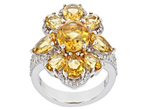 Pre-Owned Citrine Rhodium Over Sterling Silver Ring 6.40ctw