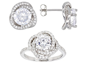 Pre-Owned White Cubic Zirconia Rhodium Over Sterling Silver Earrings And Ring Set 8.00ctw