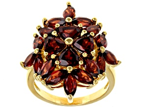 Pre-Owned Red garnet 18k yellow gold over silver ring 6.25ctw