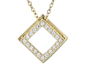 Pre-Owned White Cubic Zirconia 10k Yellow Gold Pendant With Chain .20ctw