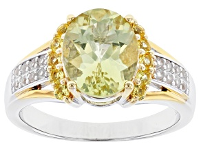 Pre-Owned Yellow Apatite Rhodium & 18k Gold Over Silver Ring 2.76ctw