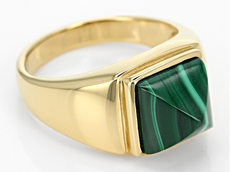 Pre-Owned Green Malachite 18k Gold Over Silver Men's Ring