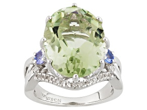 Pre-Owned Green Prasiolite Rhodium Over Sterling Silver Ring 8.53ctw