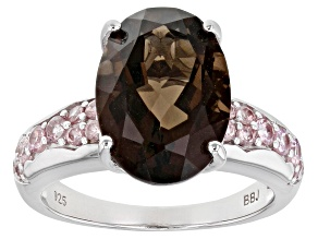 Pre-Owned Brown smoky quartz rhodium over silver ring 5.15ctw