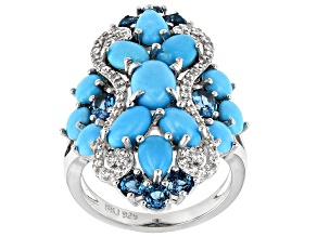Pre-Owned Blue Sleeping Beauty Turquoise Rhodium Over Silver Ring 1.54ctw