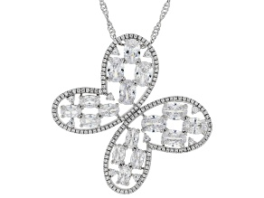 Pre-Owned White Cubic Zirconia Rhodium Over Sterling Silver Butterfly Pendant With Chain 10.57ctw