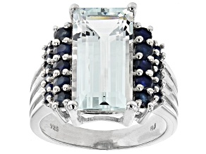 Pre-Owned Blue aquamarine rhodium over sterling silver ring 5.37ctw