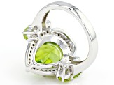 Pre-Owned Green Peridot Rhodium Over Sterling Silver Ring 4.64ctw