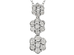Pre-Owned White Diamond Rhodium Over Sterling Silver Pendant With Chain 0.25ctw