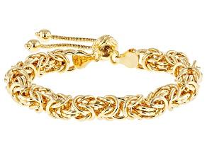 Pre-Owned 18k Yellow Gold Over Bronze Byzantine Sliding Adjustable Bracelet