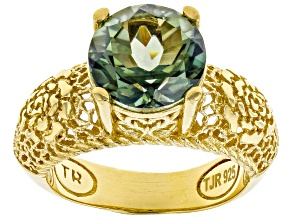 Pre-Owned Green Quartz 18K Yellow Gold Over Silver Ring