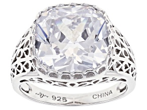 Pre-Owned White Cubic Zirconia Rhodium Over Sterling Silver Ring 10.35ctw (6.84ctw DEW)