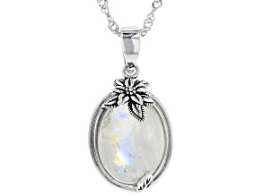 Pre-Owned White rainbow moonstone rhodium over silver enhancer with chain