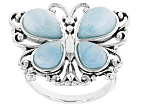 Pre-Owned Blue Larimar Rhodium Over Sterling Silver Over Butterfly Ring