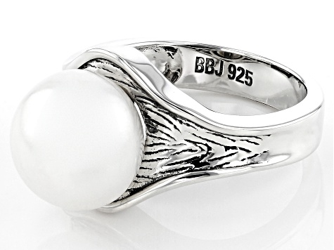 Pre-Owned White Cultured Freshwater Pearl 11.5-12mm Rhodium Over Sterling Silver Ring