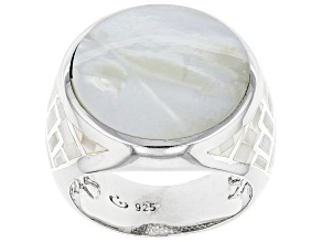 Pre-Owned White South Sea Mother-of-Pearl Rhodium Over Sterling Silver Ring