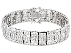 Pre-Owned White Cubic Zirconia Rhodium Over Sterling Silver Bracelet 30.77ctw
