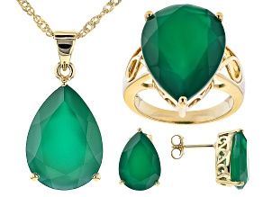 Pre-Owned Green Onyx 18k Yellow Gold Over Silver Ring, Earrings, and Pendant with Chain Set 26.34ctw
