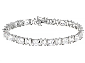 Pre-Owned White Cubic Zirconia Rhodium Over Sterling Silver Tennis Bracelet 50.20ctw