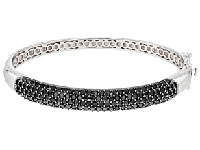 Pre-Owned Black Spinel Rhodium Over Sterling Silver Bangle Bracelet 4.96ctw